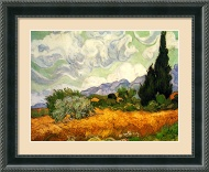 Yellow Wheat and Cypresses